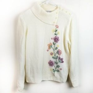 Alfred Dunner Petite Chenille Sweater Embroidered